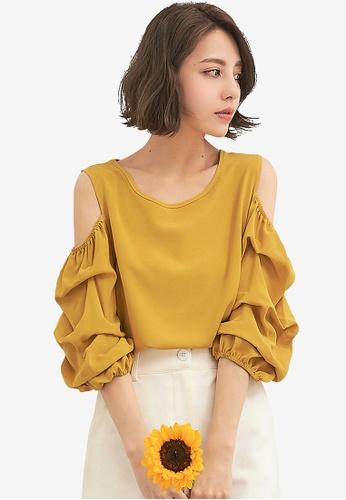 Kodz yellow Open-Shoulder Puff Sleeve Top F3AA2AAAB78CB7GS_1