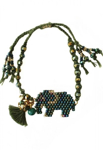 ILAVIA JEWEL green ILAVIA's Brick Stitch Green Elephant bracelet E9BDAAC863C451GS_1