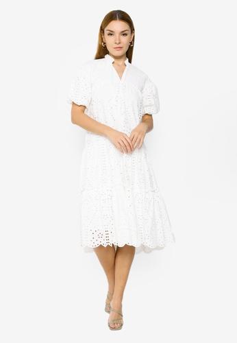 H&M white Flared Cotton Dress 95A26AA6F60722GS_1