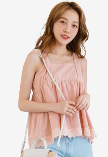Eyescream pink Lace Hem Babydoll Top D86A1AA75B5AC3GS_1