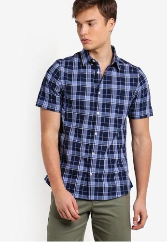 Burton Menswear London blue Blue Short Sleeve Checkered Shirt BU964AA01LRYMY_1
