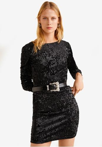 Mango black Sequined Dress C6138AAE5DA0E0GS_1