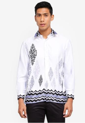 Gene Martino white Men's Batik Shirt 76BD2AA2D8D30FGS_1