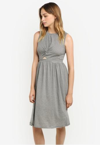WAREHOUSE black Twist Front Stripe Midi Dress WA653AA0RSQ2MY_1
