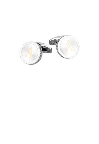 Glamorousky silver Fashion Simple English Alphabet A Round Cufflinks 48F80AC6733E3DGS_1