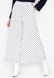 Chase Fashion white Polka Dots High Rise Wide Leg Long Culottes 9C5B2AA6FC3245GS_1