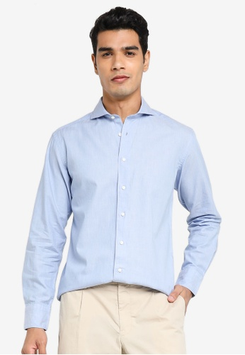 Sacoor Brothers blue Slim fit new classic easy iron cotton shirt 10786AA0F1BEE7GS_1