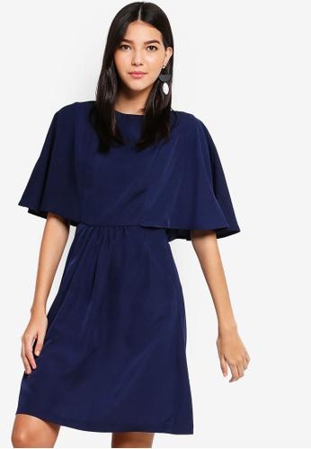 ZALORA navy Cape Sleeves Pocket Dress 45613AA72359FFGS_1