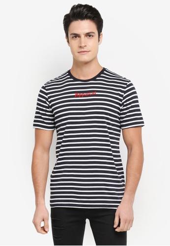 Topman white Graphic Stripe Tee 0EDE4AA6CB01FFGS_1