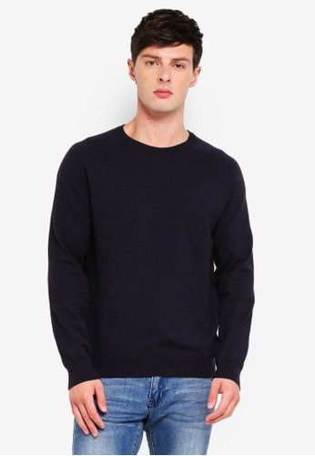French Connection blue Stretch Cotton Crew Sweater 24C6FAACC42B28GS_1
