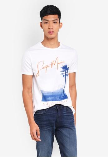 Burton Menswear London 白色 短袖印花T恤 9EDF5AAE809072GS_1