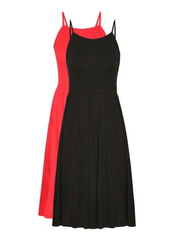 二入基本款傘擺及膝連身裙, 服飾, 及膝zalora 衣服尺寸洋裝