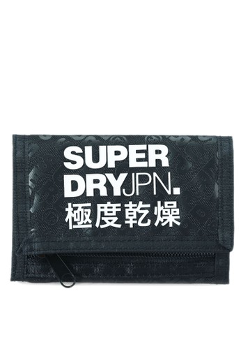 Superdry black Exclusive to Zalora - Tri-Fold Polyester Wallet D2268AC735A732GS_1