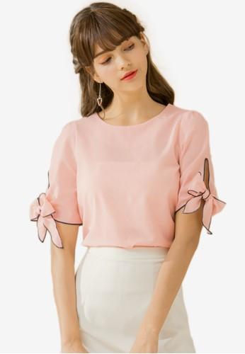 Eyescream pink Bow Sleeves Blouse D90FEAA24B2B06GS_1