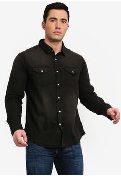 52efadf540 Brave Soul black Yondu Black Wash Denim Shirt 19F72AA6841450GS 1