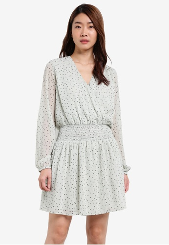 ZALORA white Wrap Front Smock Waist Dress B3F84AA843E940GS_1