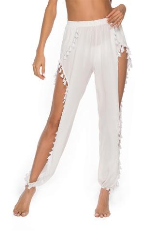 LYCKA white LTH4018-European Style Beach Casual Pants-White AF45DUS6C5A453GS_1