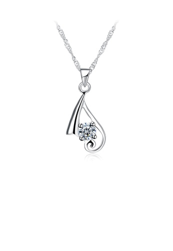 Glamorousky white 925 Sterling Silver Elegant Simple Fashion Pendant Necklace with Cubic Zircon 0ADECAC55F6D6AGS_1