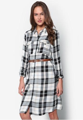 格紋腰帶襯衫式洋裝, 服飾,zalora開箱 服飾