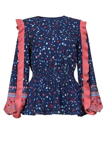 POPLOOK blue Palavi Pleated Ruffle Sleeve Blouse 549F0AA96C49DCGS_1