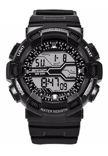 SANDA white SANDA 378 Military Waterproof Outdoor Sports Men's Shockproof Digital Watch (Black White) SA708AC0RXEPMY_1