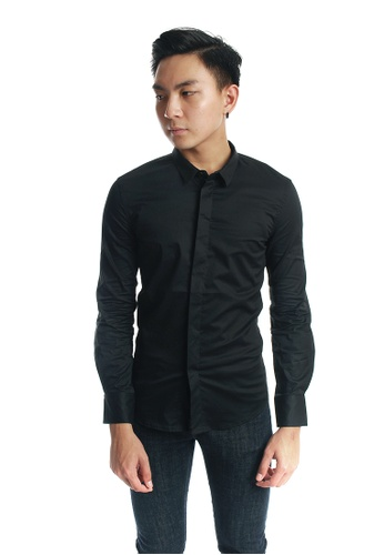Praise black Long Sleeves Poplin Shirt PR067AA67KKESG_1
