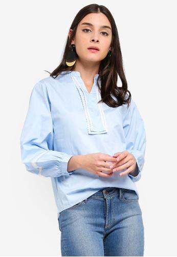 ZALORA blue Cropped Sleeves Shirt 7ECD5AA2C54489GS_1