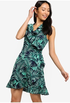 bda71bc8ba ZALORA green and navy Ruffles Wrap Dress B3F31AADD0731FGS 1