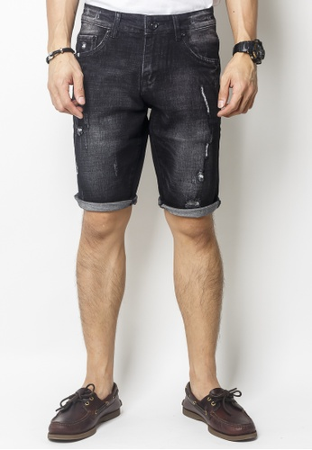 2nd Edition black Stonewashed Denim Shorts With Distressed Details CD3B7AA0C6D189GS_1