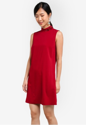 ZALORA red Embellished Shift Dress 25B8AZZCFDD533GS_1