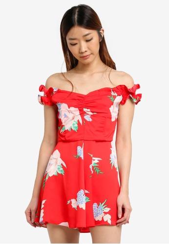 Miss Selfridge red Cny:Shirred Sleeve Bardot Playsuit 08EA2AA5A95A2EGS_1