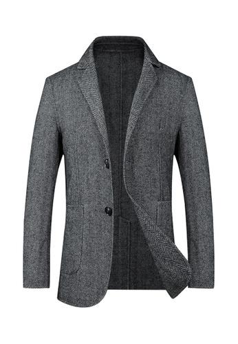 HAPPY FRIDAYS Single-Breasted Striped Wool Blazer 1903 5D638AAD1DE91AGS_1