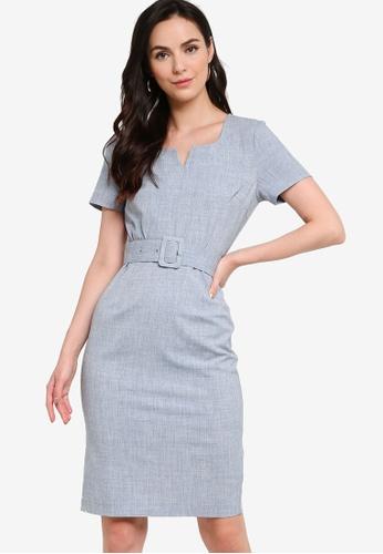 ZALORA WORK blue Notch Neck Sheath Dress 0D5A1AAFC981A9GS_1