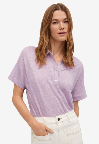 Mango purple 100% Linen Polo Shirt 6FC5DAA31D471FGS_1