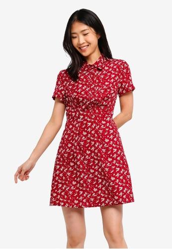 ZALORA BASICS red Basic Pleated Shirt Dress 62EE0AAF05F189GS_1