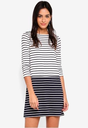 ZALORA BASICS white and navy Contrast Stripes Dress CC987AA905AAEEGS_1