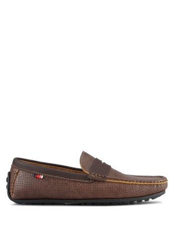 UniqTee brown Perforated Moccasins With Strap Detail UN097SH0S219MY_1