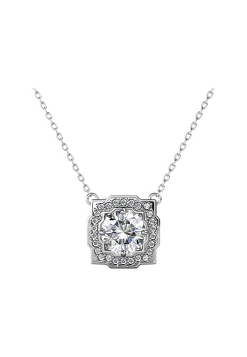 Her Jewellery silver CELÈSTA Moissanite Diamond - Carree Pendant (925 Silver with 18K White Gold Plating) by Her Jewellery 90EE5ACAB95CD6GS_1