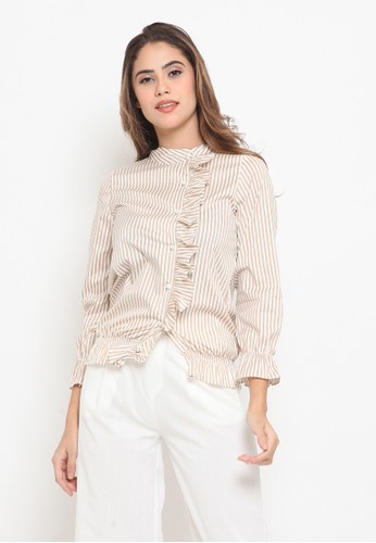 Heart and Feel brown Brown Stripe Blouse E0826AA2FCB183GS_1