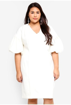 5f16a8a90c15 Eloquii white Plus Size Puff Sleeve Sheath Dress 26D01AAD653CBCGS 1