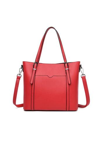 Lara red Women's Elegant Plain PU Leather Tote Bag Cross-body Bag - Red 7E991AC1D7B20AGS_1