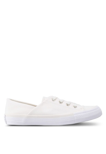 Converse white Chuck Taylor All Star Coral Brushed Twill Ox Sneakers 5108FSH93C9E78GS_1