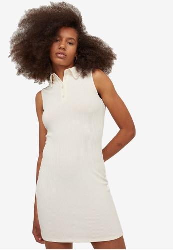 H&M white Ribbed Dress 9975EAA13CBF0AGS_1