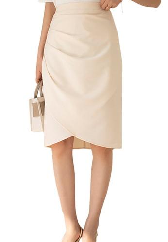 Sunnydaysweety beige Korean High Waist Wrap Hip Skirt A21031205KI B551BAA31AC78EGS_1