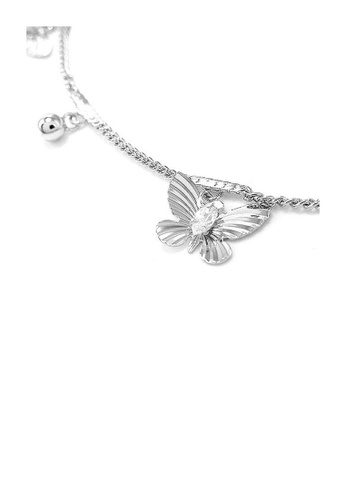 Glamorousky silver Elegant Butterfly Anklet with Silver Austrian Element Crystals 060D2ACBA5AE1CGS_1
