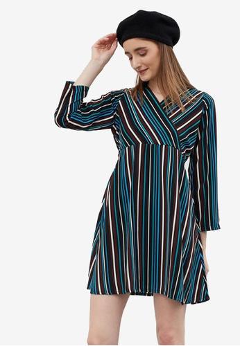 Berrybenka blue Safora Multi Stripes Dress 499B7AAFD1C7ADGS_1