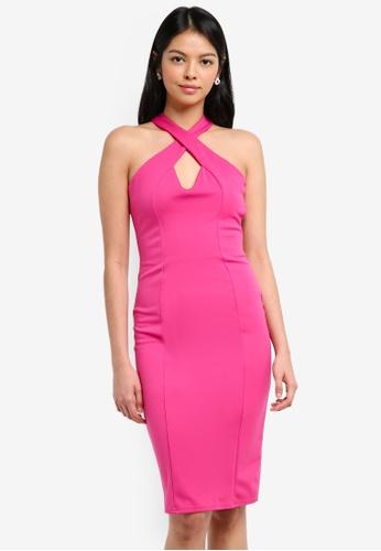 Goddiva pink Criss-Cross Neckline Midi Dress A1B19AA145ECCEGS_1