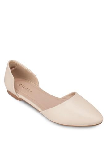 側鏤空尖頭平底鞋, zalora鞋女鞋, 芭蕾平底鞋