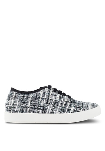 ZALORA black and white Tweed Textured Sneakers 91CAFSH10898D0GS_1