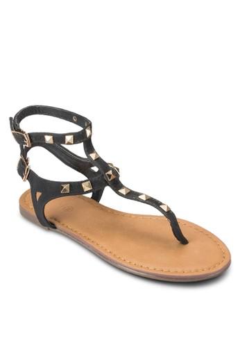 鉚釘雙zalora 心得 ptt踝帶平底涼鞋, 女鞋, 鞋
